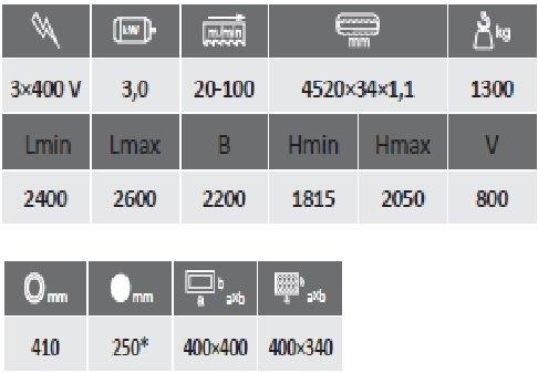 технические характеристики Pegas 400 Profi a cnc